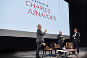 Thierry Frémaux, Charles Aznavour et Laurent Gerra