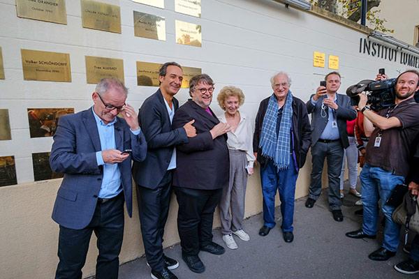 Thierry Frémaux, Alexandre Desplat, Guillermo Del Toro, Marisa Paredes et Bertrand Tavernier
